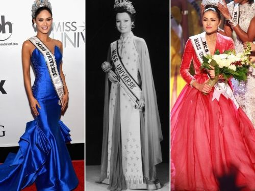 Photos show how the winning gowns from the Miss Universe pageant have changed through the years