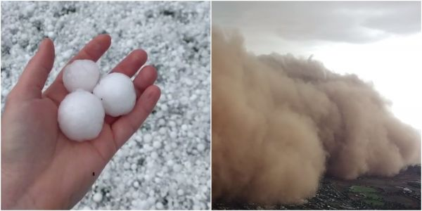 Just as Australia's deadly fires begin to subside, it's being hit with more apocalyptic weather. Videos show enormous dust storms and golf-ball-sized hail battering cars and buildings