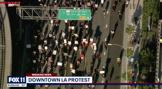 Protesters marching over George Floyd's death overtake major Los Angeles freeway and clash with California Highway Patrol