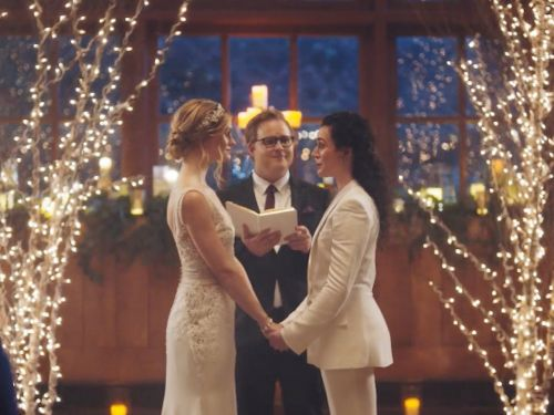 Wedding website Zola says the Hallmark Channel won't air its commercial featuring a same-sex couple getting married