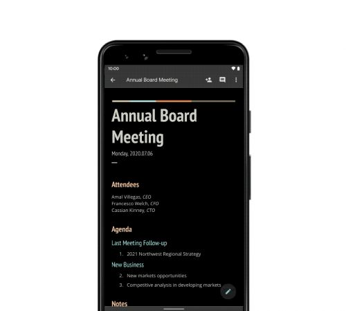 Google updates G Suite for mobile with dark mode support, Smart Compose for Docs and more