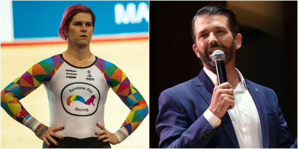 A transgender cyclist has defended her world title win after Donald Trump Jr called it 'bulls--'