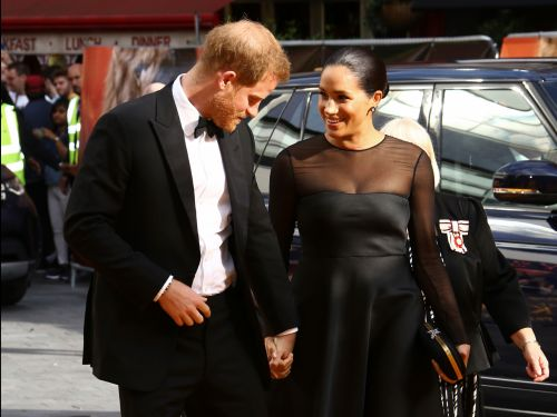 New video shows Prince Harry telling director Jon Favreau that Meghan Markle is available to do voiceovers, as Beyoncé laughs along in the background