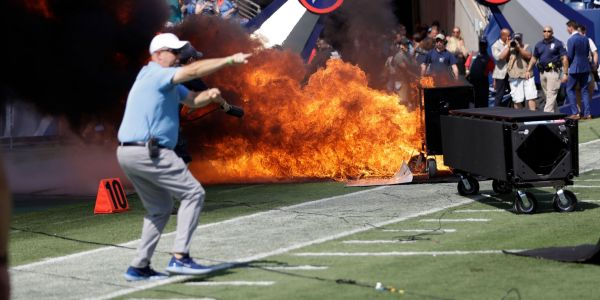 Fire erupts on Tennessee Titans field before NFL game when a pyrotechnics device malfunctioned