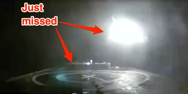 Video shows SpaceX rocket booster narrowly missing its landing platform and hitting the sea after the 'most difficult launch ever'