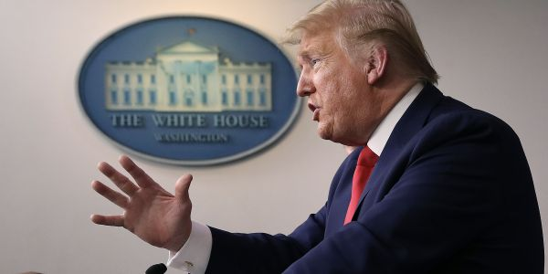 Trump claims without evidence that Wisconsin's governor wants to move the primary to stop a conservative justice from getting elected. Gov. Evers requested the change because of the coronavirus