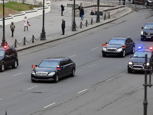 Kim Jong Un travels with a convoy of Mercedes-Maybach armored limos