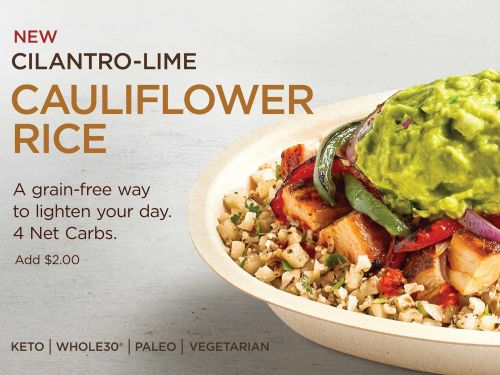 Chipotle is testing cauliflower rice in select markets as consumers demand grain-free, low-carb options