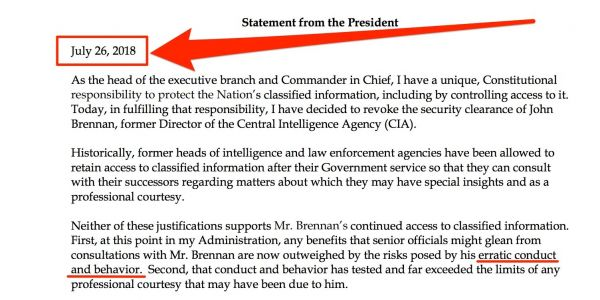 The White House waited 3 weeks to announce Trump was revoking Brennan's security clearance, and some are speculating it was to get people to stop talking about Omarosa and Manafort